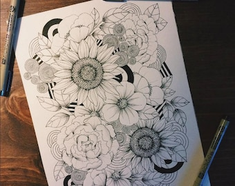 Floral Coloring Page - 8.5x11""
