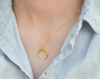 Tusk Moon Horn Necklace // Double Gold Horn // Gold Layering Necklace