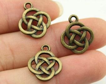 10 pcs Knot Pattern Copper Charm, Copper Pendant - PD034