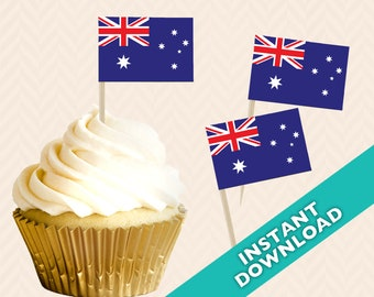 Australia Flag Toothpick Party Decoration - Australian Party Food Flag, DIY printable food flag, cupcake topper