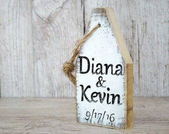 Nautical wedding sign Wedding buoy ornament Custom name signs Buoy sign Personalized sign Wedding date sign Reclaimed wood sign Bridal gift