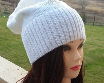 """Ready to ship: White Wool Slouchy Beanie Hat """"Shooting Stars"""""""