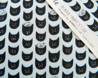 Cute Kitten Double Gauze By Kokka Japan, Black Cat, Cat Lady Cat Lover