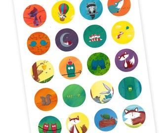 20 Forest Animal Stickers - Party Favors
