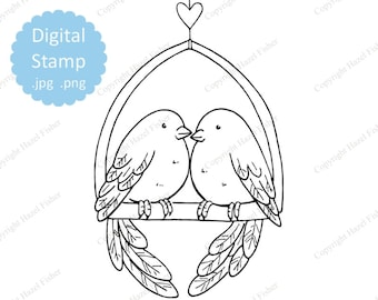 Love Birds Digital Stamp, line art - 2 birds and heart, valentine's day, wedding, anniversary, clipart, colour-in - Instant Download DS011