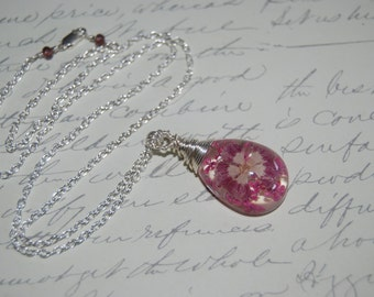 Artistic Wire Wrapped Pretty Pink Flowers Style Necklace.Mom jewelry.