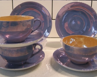 3-1/2 Sets Midcentury Lustreware teacup & saucer duos - Peach lustreware - Blue lustreware - Japan- Plus 2 extra saucers