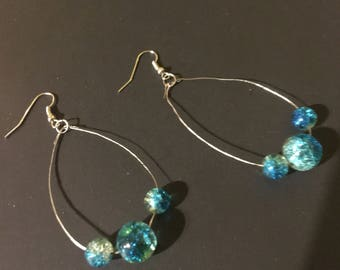 Glass bead on hammered silver wire earrings