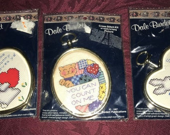 3–Dale Burdett—Cross Stitch Kits—With Frames—Some Bunny Loves Ya—You Can Count On Me—Sealed Kits