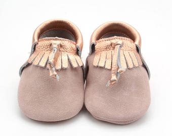 Rose Gold Leather Moccasin
