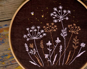 Wildflower embroidery, Hand embroidery pattern, Digital download, Night meadow, Floral Hand embroidery art by NaiveNeedle