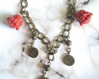 Lucky Lotus/Laughing Buddha Charm Bracelet - 8in/lobster clasp