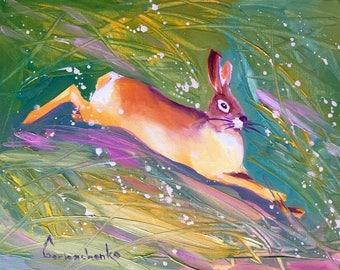 Bunny Rabbit Original Oil Painting on canvas panel by Tetiana