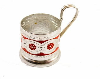 Tea glass holder Russian Traditional podstakannik soviet vintage metal tea glass holder tea glass holder soviet aluminium tea glass holder