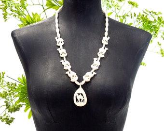VINTAGE: 1970's - Hand Carved Bone - Camel Necklace - Carved Bone Necklace - Natural Necklace - Boho, Hipster - SKU 13-B3-00008528