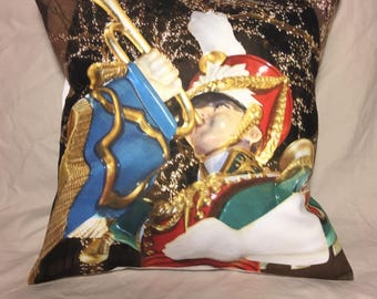 Christmas in Rockefeller Center Photo Pillow Cover wooden toy soldier bugle