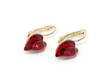 Red Heart Earrings - Dangle Heart Earrings - Heart Jewelry - Love Earrings - Gift for Her - Valentine Gift - Valentine's Day