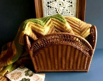 Vintage Handpainted Wicker Magazine Basket / Magazine Rack / Storage Basket - Vintage Bohemian Decor