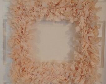 Large Peach Rag Wreath/Door Decor/ Wall Decoration/Fabric Wreath/Ballering Pink