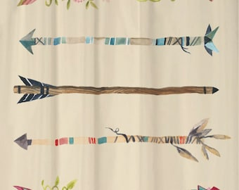 Watercolor Arrows Shower Curtain You PICK BACKGROUND COLORS Standard or Extra Long 70, 78, 84, or 96 Inch Lengths for Your Tribal Bathroom