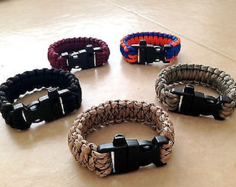 550 Paracord Military Survival Bracelet with Emergency Whistle