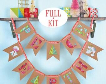 KIT - Peace on Earth - Satsuma Street modern cross stitch Christmas bunting - full kit option