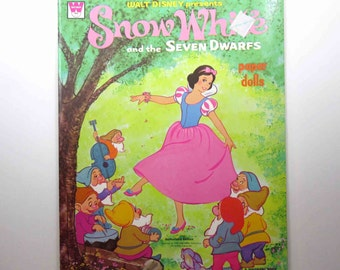 Vintage 1970s Walt Disney Presents Snow White and the Seven Dwarfs Uncut Paper Doll Book for Children by Whitman
