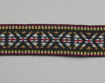Black Brown ethnic patterned stripe Ribbon yellow and Red