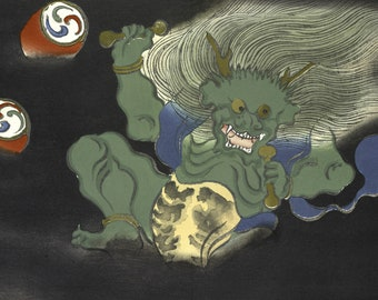 Japanese Art Reproduction. The Demon from The Flowers of a Hundred Worlds (Momoyogusa), 1909 by Kamisaka Sekka. Fine Art Reproduction