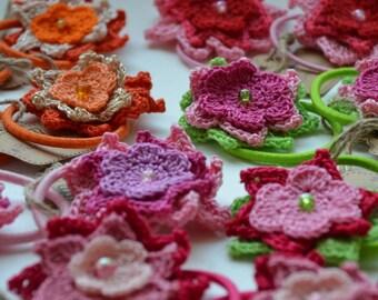Pair of crochet flower hair ties, hair accessories