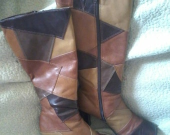 1970's Now Or Never Faux Leather Patchwork Boots Size 7 1/2 M