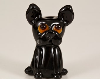 SALE - Black Frenchie Lampwork Dog Bead