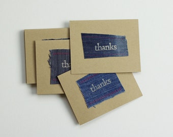 Denim Thank You Cards set of 10