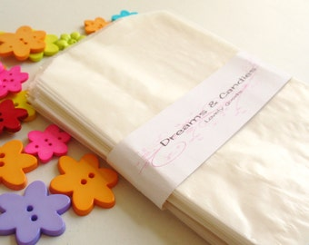 """25 Glassine Paper Bags Size 4 3/4"""" x 6 3/4"""" -White Glassine Bags -Wedding Favor Bags -Candy Bags -Small glassine bags -Packing Bags"""