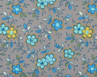 Teal, Yellow & Ivory Floral on Gray 100% Cotton Quilt Fabric for Sale, Marshall Dry Goods, Yardage, MDGHappy17, Grey
