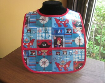 WATERPROOF WIPEABLE Baby to Toddler Plastic Coated Bib Pirate Boy Red White and Blue