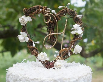 Rustic Wedding Cake Topper With White Mini Roses