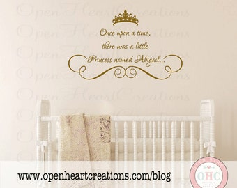 Princess Wall Decals - Personalized Baby Girl Name with Tiara and Accent - Vinyl Lettering for Baby Nursery 22h x 36w BA0019