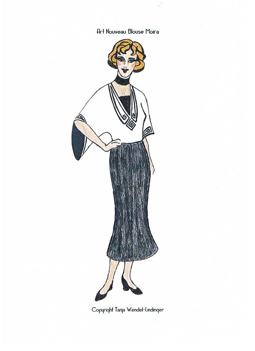 1910s Blouse Pattern Art Nouveau Blouse Moira - PDF Pattern Size ...