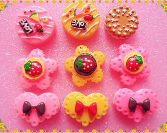 Mix Cake flatback kawaii cabochon  kits 9pcs