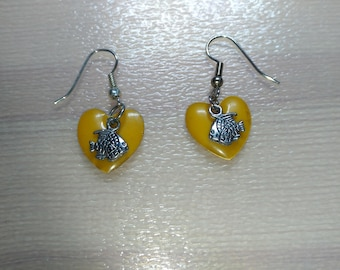 Yellow heart and fish earrings