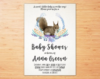 Baby Shower Invitation ,  Squirrel Baby Shower Invitation , Floral Baby Shower Invitation, Boy Baby Shower Invitation, Watercolor Shower