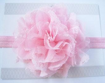 Light Pink Chiffon Headband Headband, Baby Headbands, Newborn Headbands, Infant Headbands, Baby Girl Bow, Infant Hair Bow,