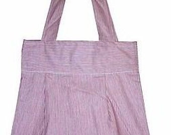 Stripe Cotton Canvas Tote Bag - Unlined