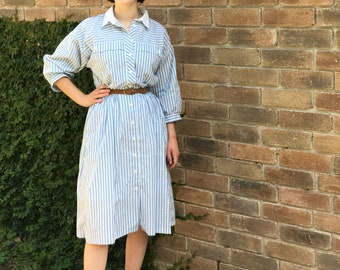 80s Peri Blue Striped Dress Size S/M