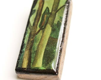Painted Forest Wooden Pendant