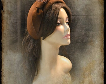 Pillbox Hat brown / Pillbox /brown Pillbox /brown hat/small hat /