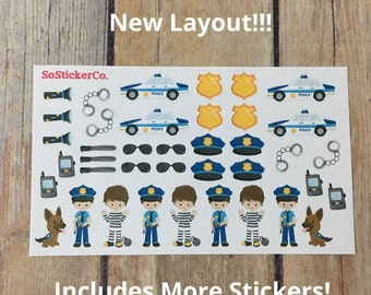 NEW Larger Sheets - Police Stickers, K9 Stickers, Police Dept, Cop Stickers, Law Enforcement, LEO Stickers, Cute Planner Stickers, Stickers