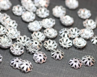 Silver Bead Caps Silver Tone Filigree Bead Caps 8mm Pack of 20