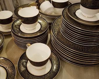 Mikasa Mount Holyoke 50-pc black and gold fine bone china dinnerware set for 8 plus extras